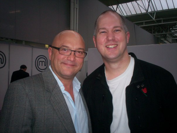 Ady with Masterchef judge Greg Wallace at London Olympia 2009.