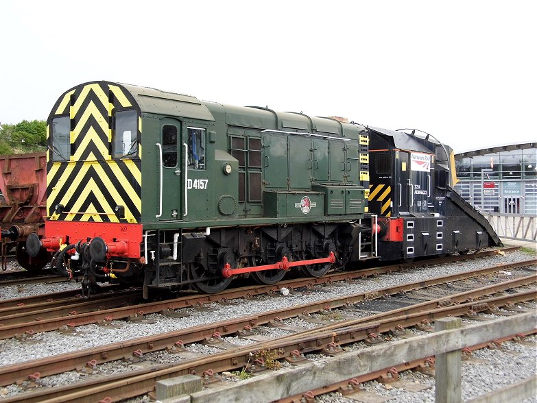 Shunter D4157 and Peterborugh snowplough which hd just arrived that morning.