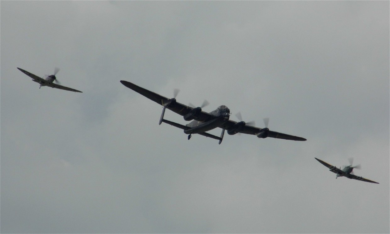 BBMF Lancaster B1 and two Spitfires, RAF Waddington July 6th 2014