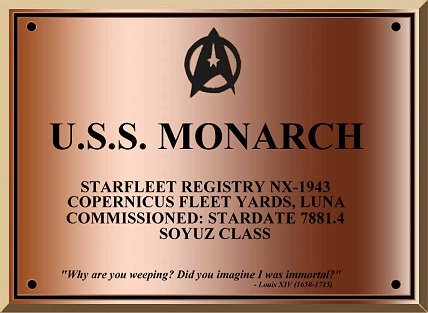 U.S.S. Monarch dedication plaque.
