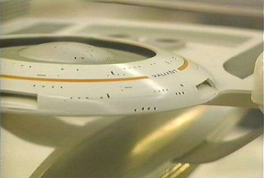 USS Valiant - NCC 20000 as seen in Star Trek: Generations. Pictured for a Discovery Channel programme in ILM studios.