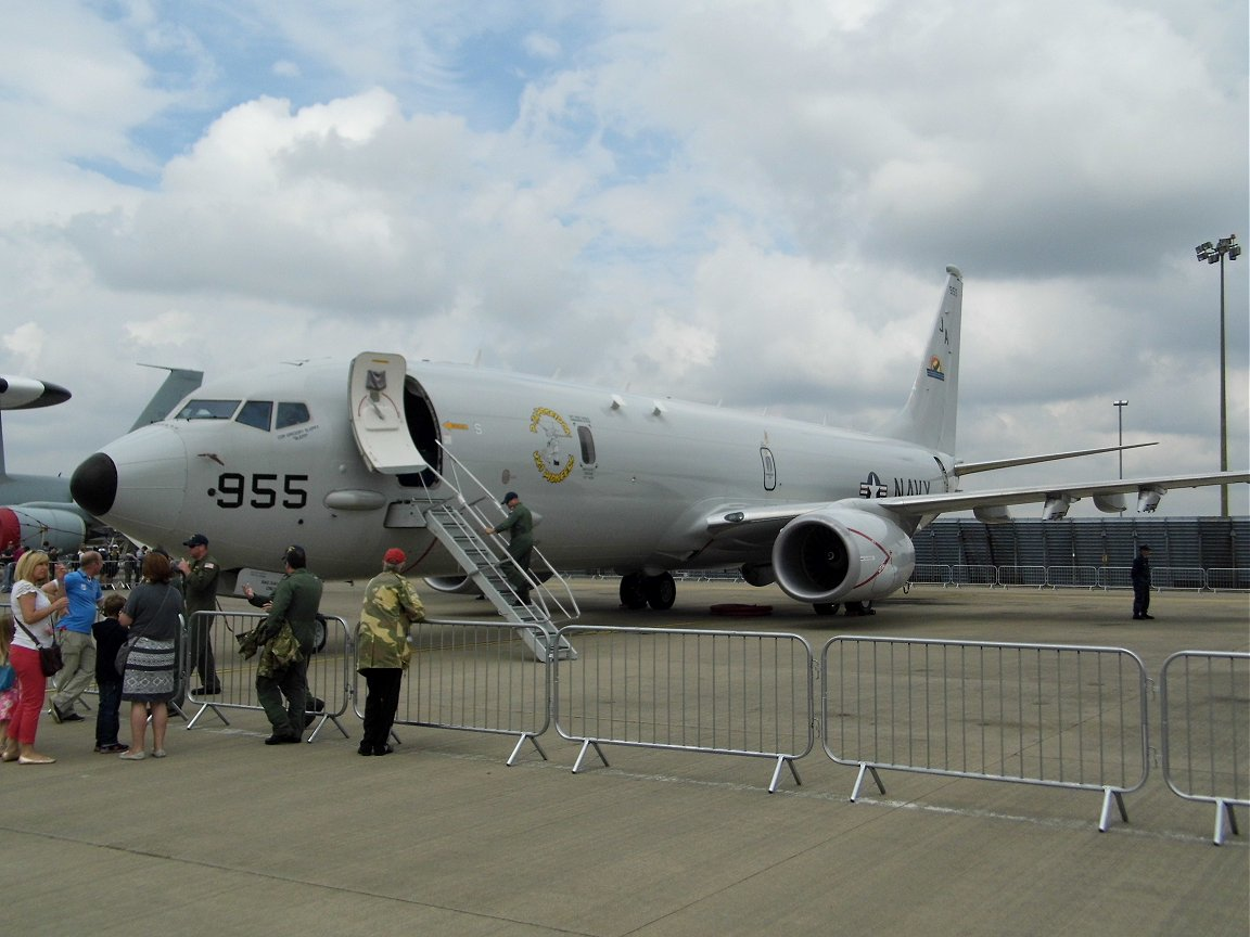 Brand-new P-8A Poseidon maritime patrol aircraft, RAF Waddington July 6th 2014. Is the MoD going shopping?