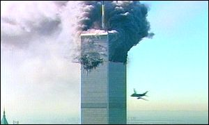 The second highjacked Boeing smashes into the World Trade Center.