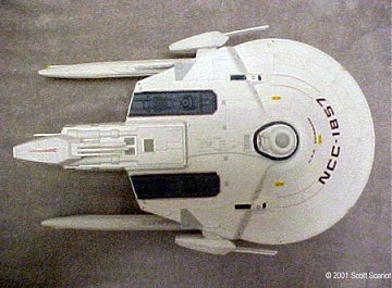Scott Scariot's superb Soyuz class model, showing more details than the TNG episode 'Cause and Effect' did. Copyright © All Rights Reserved Scott Scariot 2001.