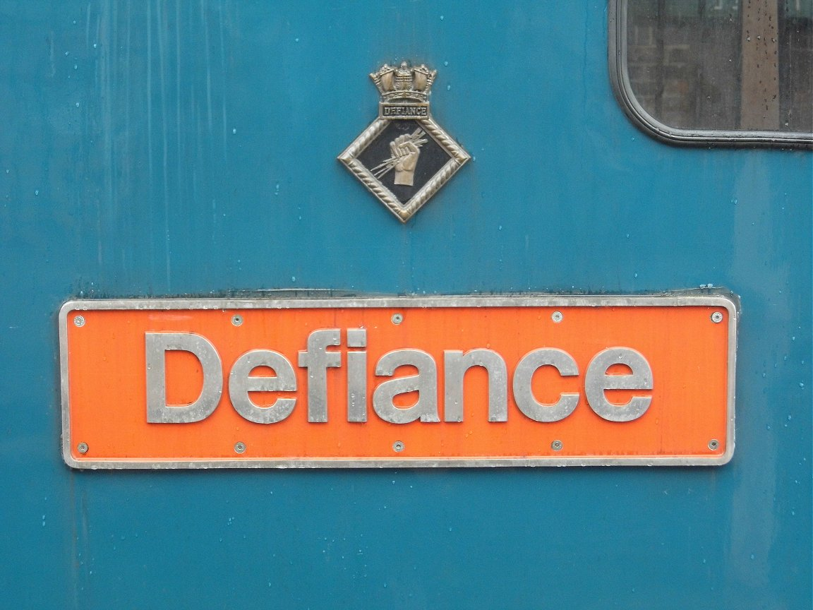 Nameplate of SR Battle of Britain 34109, Sat 28/12/2013.